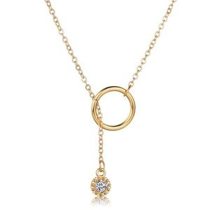 Dainty Lariat Circle CZ Crystal Pendant Necklace